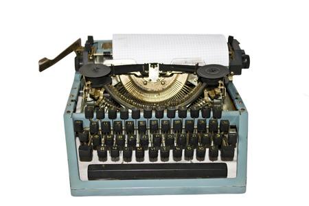 Old writing machine isolated on white