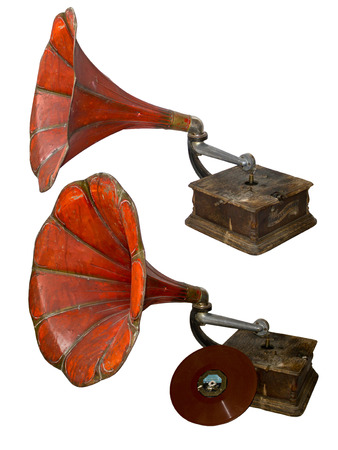 Red old gramophone isolated on white Stock Photo