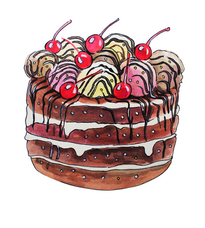 Watercolor illustrations of sweet cake with ice cream and cherries
