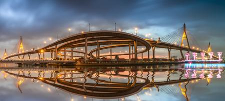 bhumibol: Bhumibol Bridge Panorama with sunset
