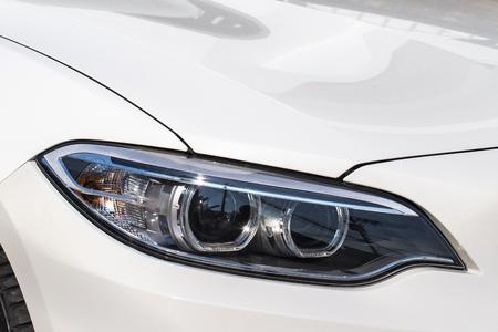headlight: Automobile Headlight at Night Stock Photo