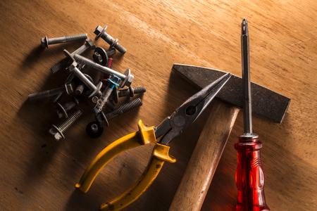 handtools: Set of dirty old hand-tools. Close-up