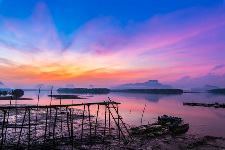 phangnga: sunrise sea Phangnga province thailand