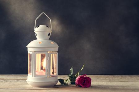 rose: Candle Lighting & rose Stock Photo