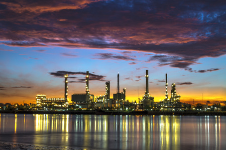 refinement: oil refinery industry plant along twilight morning