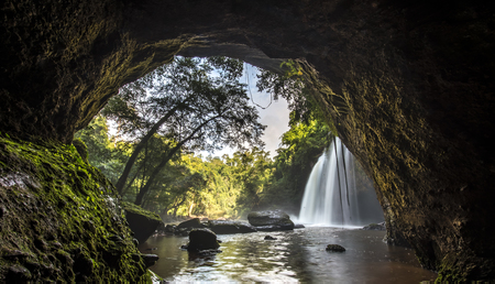 oxigen: Cave in Heo Suwat Waterfall in Khao Yai National Park in Thailand Stock Photo