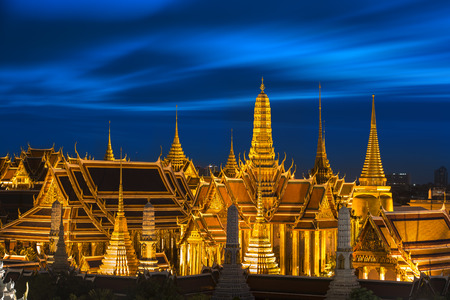 Temple of the Emerald Buddha at dusk, Wat Phra Kaew (Thailand) Stock Photo