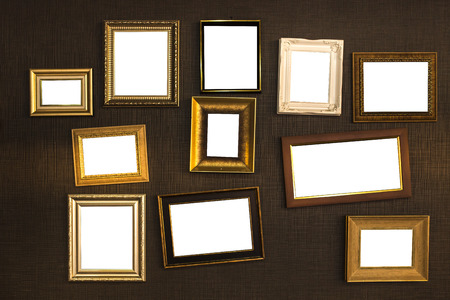 Picture frame vector. Photo art gallery on vintage wall.