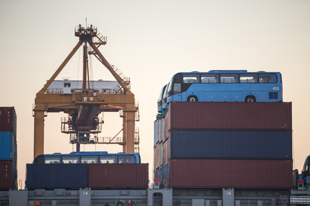 intermodal: Containers on the transport ship