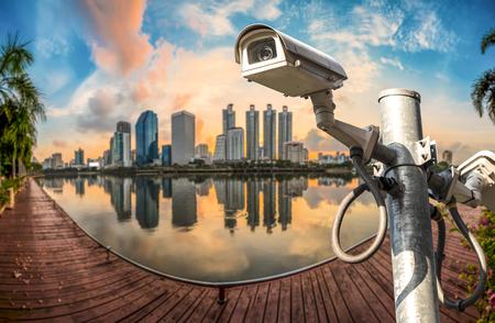 CCTV surveillance camera on top of building