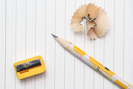 sharpening: Pencil with sharpening shavings