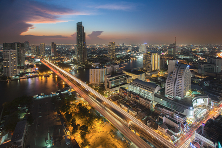 river scape: Beautiful sky colors of city scape and Chao Phraya River