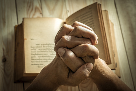 intercede: Unrecognizable woman holding a bible in her hands and praying