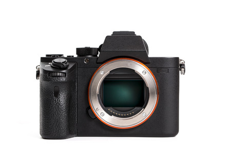 sony: The body of the Sony or Sony Alpha 7II A7II fullframe mirrorless interchangeable-lens camera on a white background. Editorial