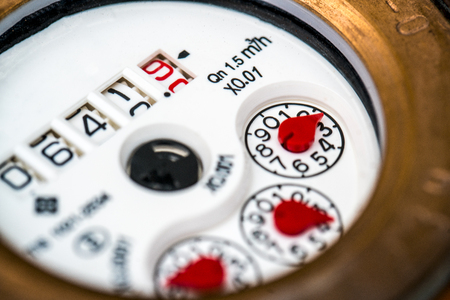 close fitting: water meter close-up isolated Stock Photo