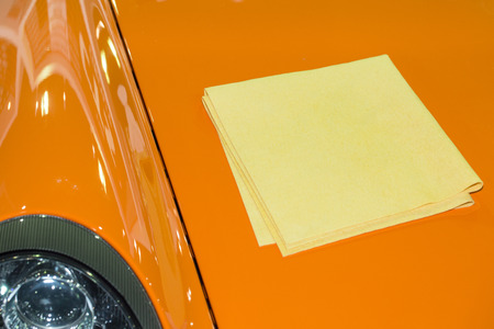 pva: yellow PVA chamois for car cleaning