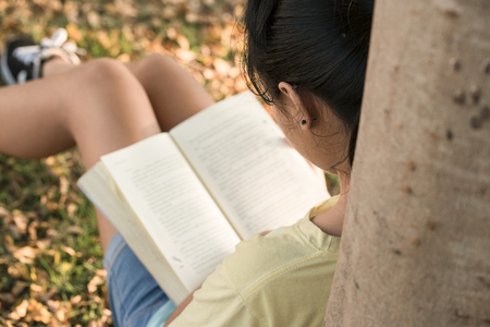 autodidact: A beautiful young woman relaxing reading a lawn with the sun.(focus ear)