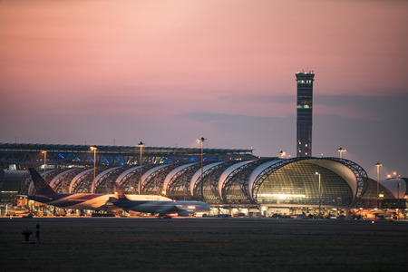 BANGKOK-January 2: Suvarnabhumi Airport at sunset on January 2, 2016 in Bangkok ,Thailand. This airport is the worlds third largest single building airport terminal designed by Helmut Jahn.