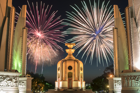democracy: Democracy Monument with fireworks