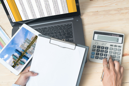 calculate: Calculate buy housing Stock Photo