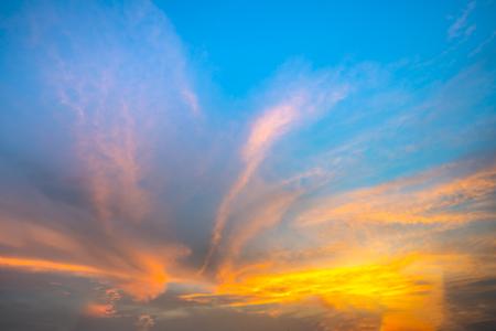 beautiful sky: Fiery orange sunset sky. Beautiful sky. soft focus