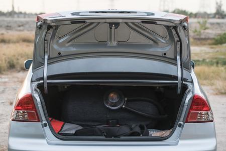 car trunk: Open car trunk