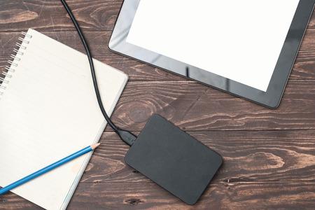 external: External hard disk storage pad. Stock Photo
