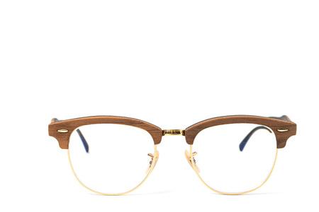 damaged roof: Eyeglasses wood isolated on white. Stock Photo