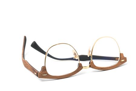 man  glasses: Eyeglasses wood isolated on white. Stock Photo