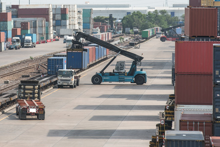 habour: Industrial Container Cargo with working crane to railway transportation to habour in Logistic Import Export area