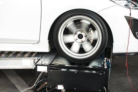 mot: roller brake tester Stock Photo