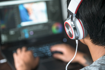 It is video editing, video editing, computer laptops and headphones.
