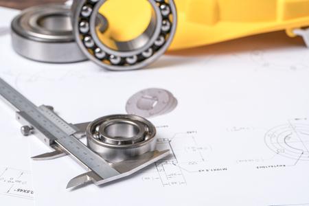 bearing: Bearing, calipers and mechanical diagrams Stock Photo