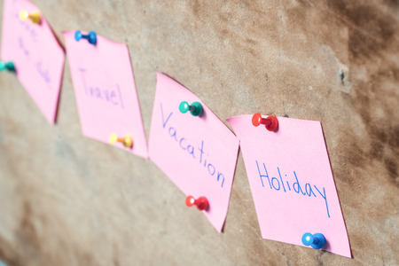 a bulletin board: Sticky notes on a bulletin board. Close-up view
