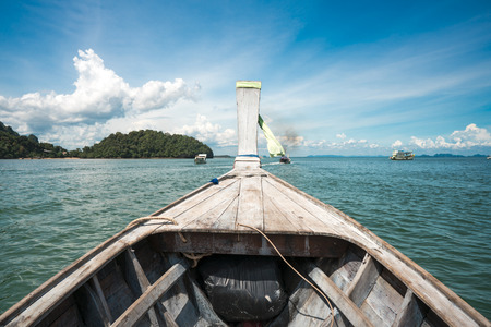 long tailed boat: Head of wooden long tailed boat tour around Thailand Islands Stock Photo
