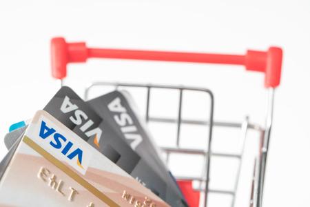 BANGKOK, Thailand - Aug 1 Kha 2016: Close up of credit card, visa shopping cart.