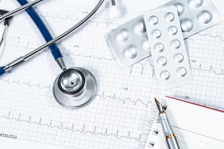 cardiogram: stethoscope on the cardiogram Stock Photo