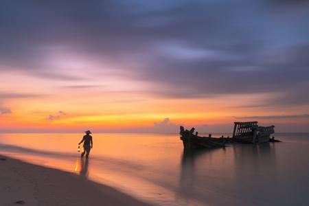 fisherman shipwreck Stock Photo