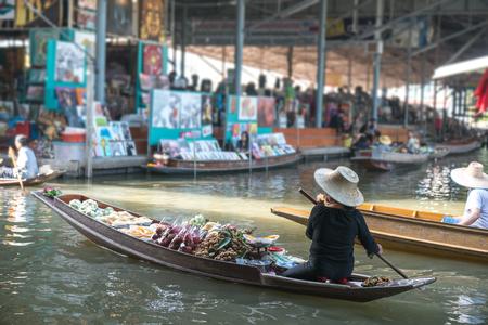 saduak: Traditional floating market , Thailand. Stock Photo