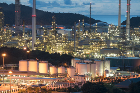 oil and gas industry: Closing Industrial View at Refinery Plant in Industrial Zone