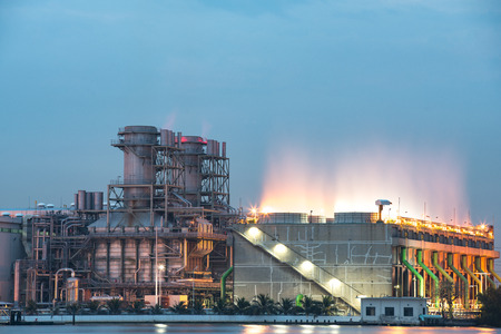 oil and gas industry: Power station at dusk Editorial