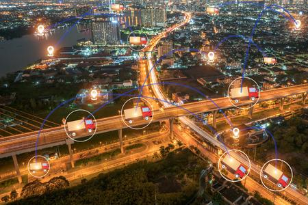 Seguimiento logístico de GPS Seguidores Foto de archivo - 89260988