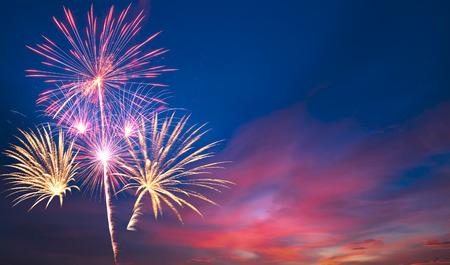 Beautiful fireworks on a beautiful sky background Stock Photo