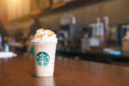 Petchaburi, Thailand-9 February 2018.: Starbuck Frappuccino Coffee Bean Blend at Starbuck Coffee Table at Phetchaburi Department Store