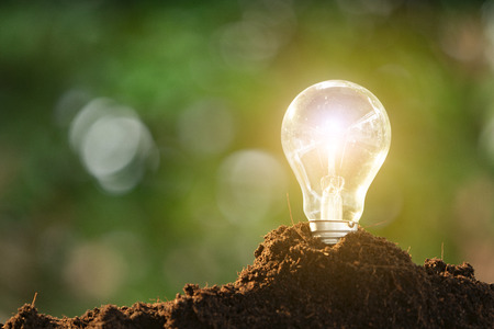 Light bulb glowing in soil as idea or energy concept Stock Photo