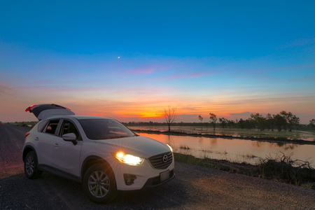 Thailand - October 11, 2018: Thailand - Mazda cx5 on the beautiful background, mazda cx-5 on the road Editorial