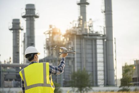 Drone operated by worker turbine power plant