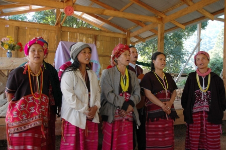 Mae Hong Son, Thailand - December 24, 2006  Hill tribe choir singing on Christmas Eve at the church of Baan Huay Hee village, Mae Hong Son, Thailand