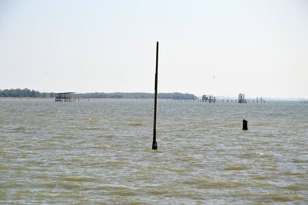 Electric pole on the land that becomes water causes by Global Warming. This made the coastal erosion problem at the coastal area of Bangkok Bay and many place in the world.