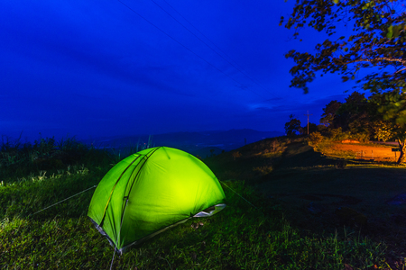Camping tents on the mountain in Chiang Rai, Thailand.